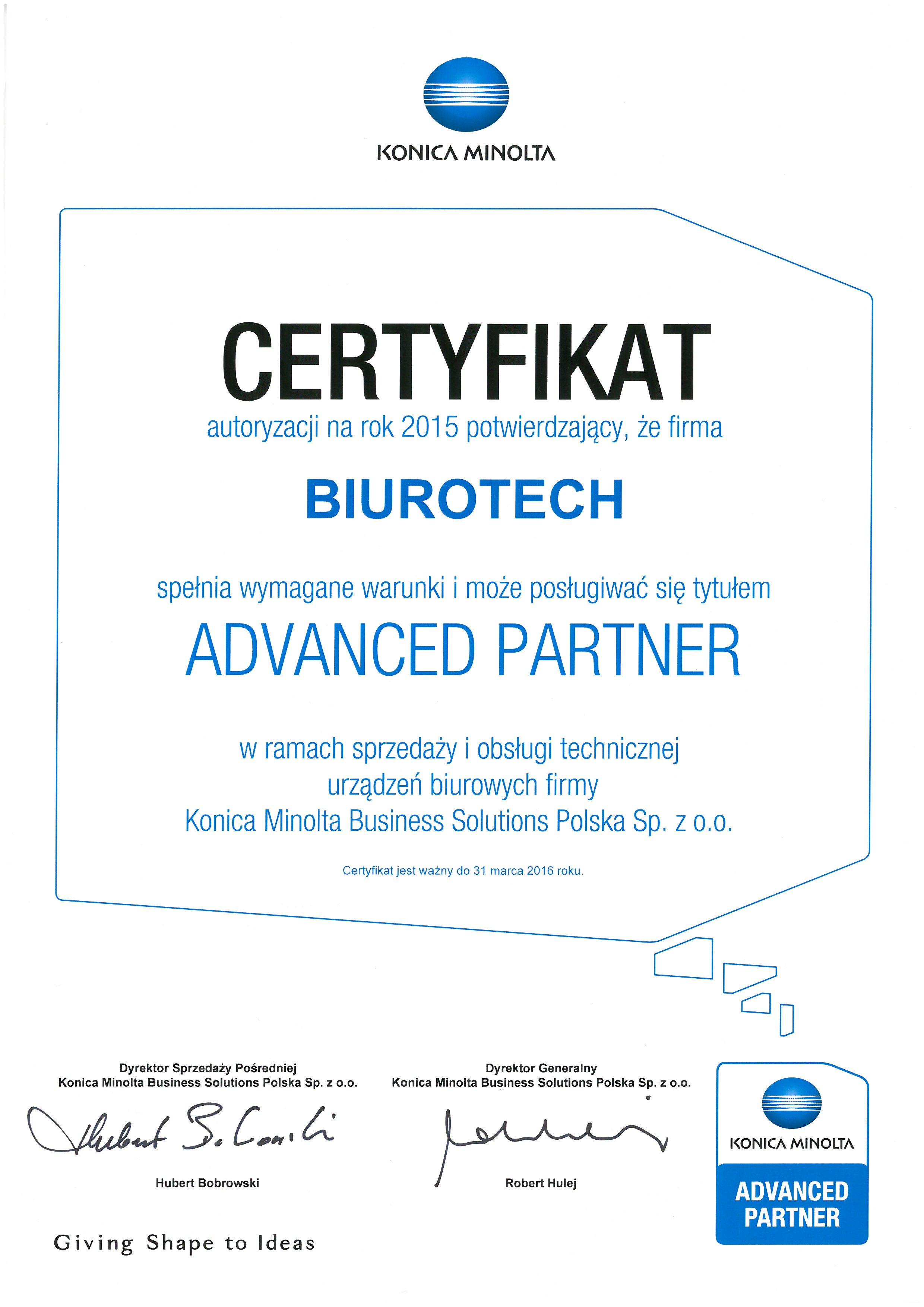 Biurotech - autoryzowany Advanced Partner Konica Minolta 2015