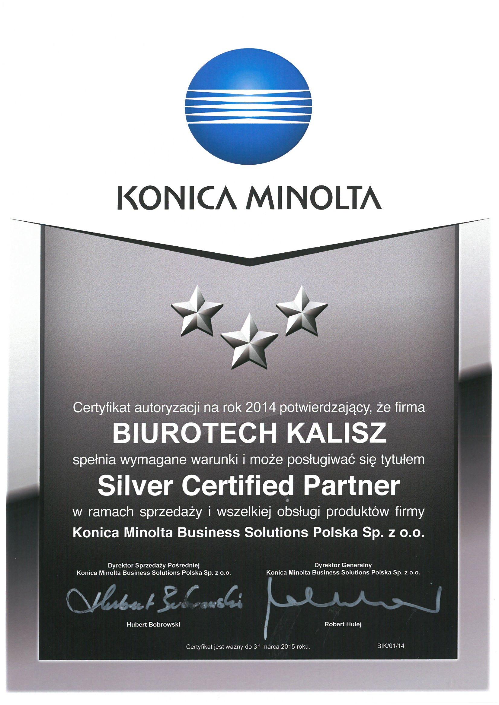 Biurotech - autoryzowany partner Konica Minolta 2014