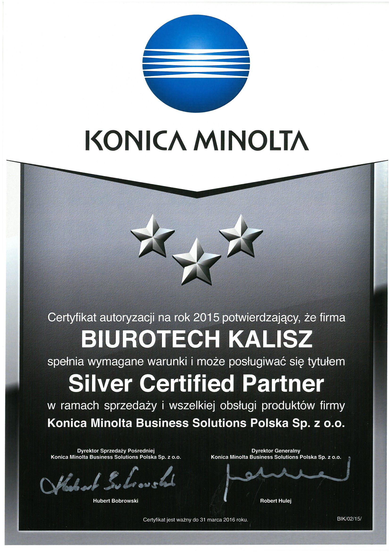 Biurotech - autoryzowany partner Konica Minolta 2015